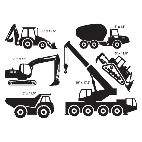 construction trucks wall decal