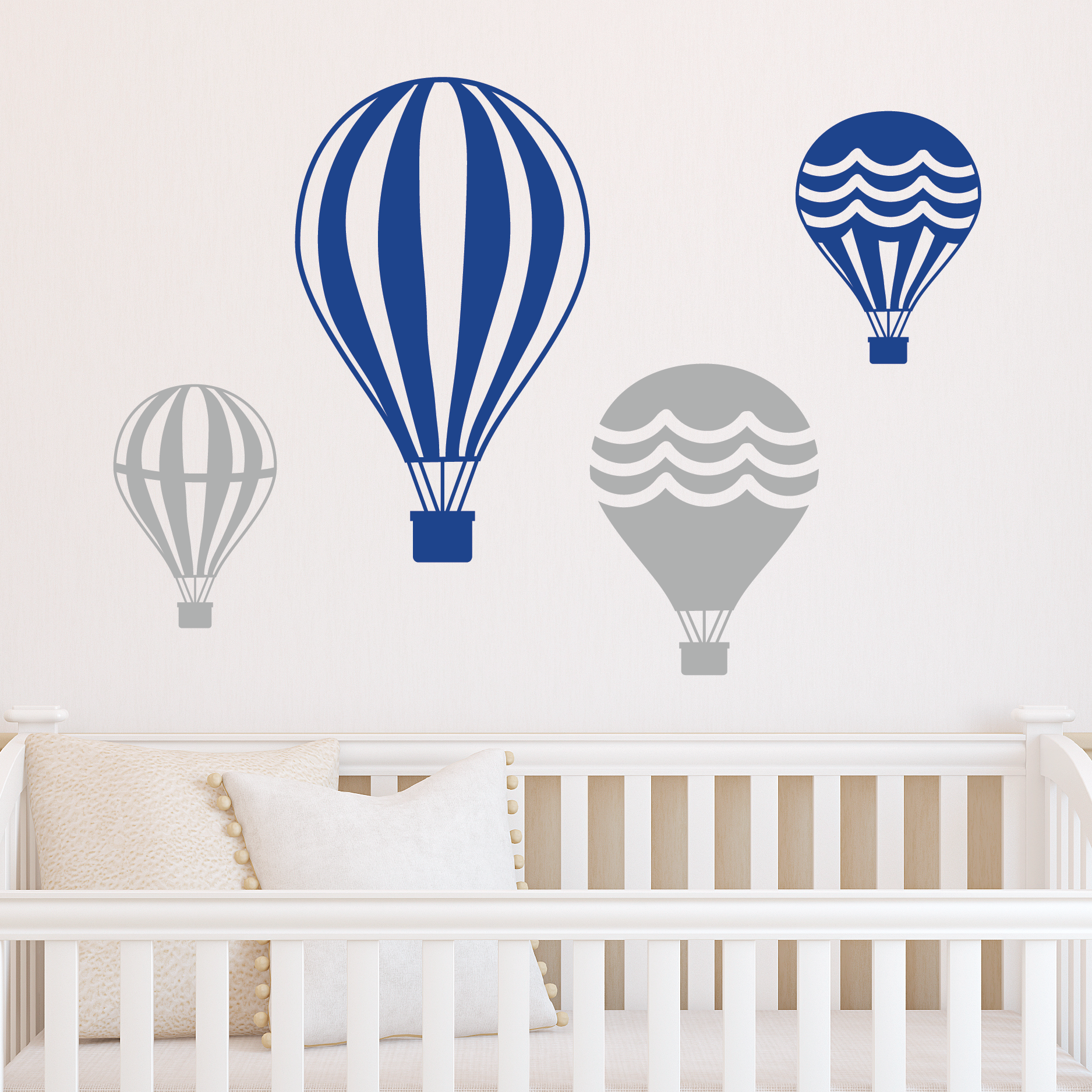 Set Of Four Vintage Hot Air Balloons  2 Color