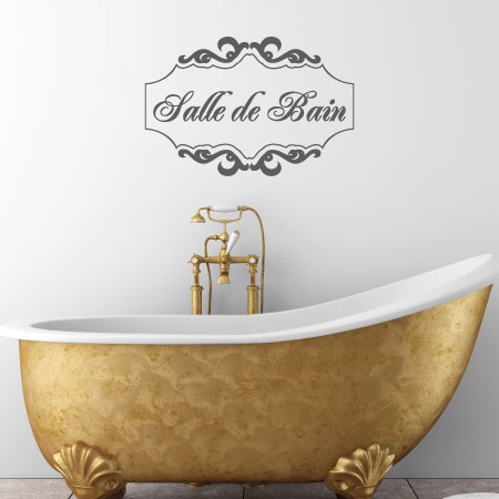 Framed salle de bain wall quotes decal for Citation salle de bain