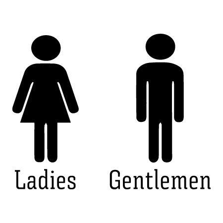 Ladies And Gentlemen Wall Quotes Decal WallQuotescom - Professional bathroom signs