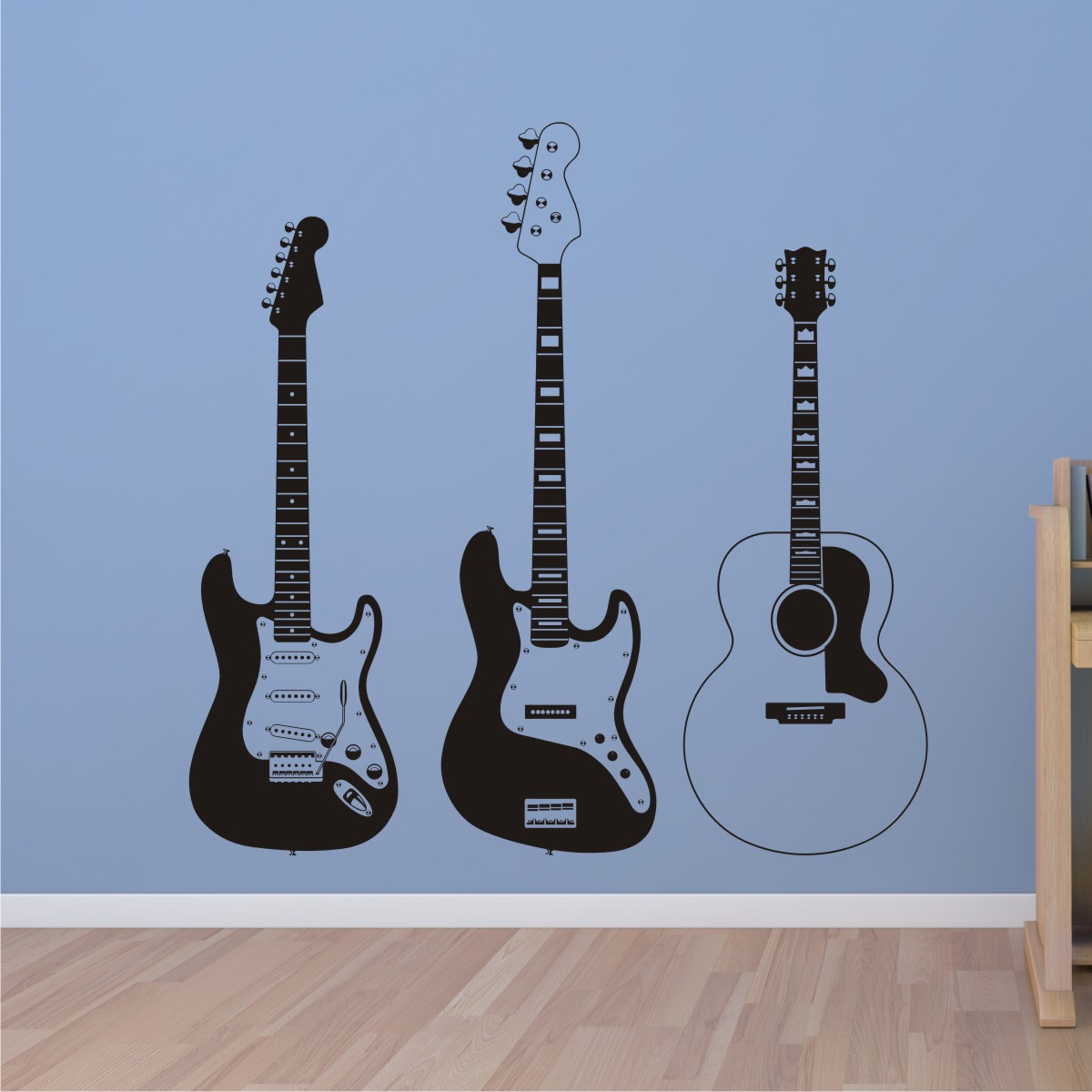 Three Guitars Boys Room Teenager Wall Art Decal