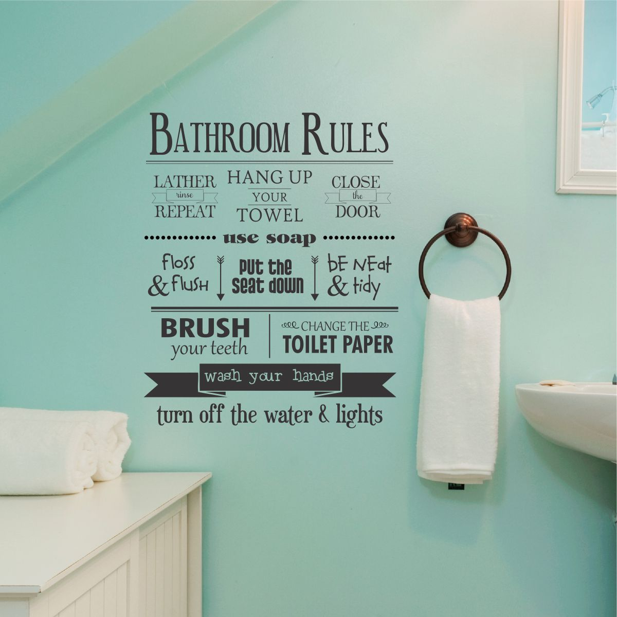 Bathroom Rules Wall Quotes Decal WallQuotescom - Custom vinyl wall decals sayings for bathroom