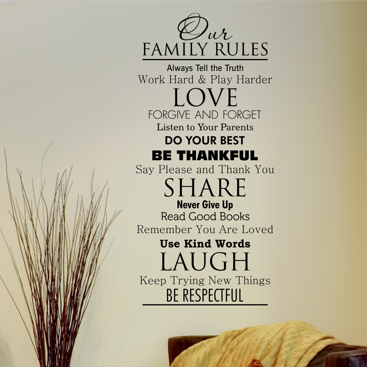 classic family rules wall quotes decal