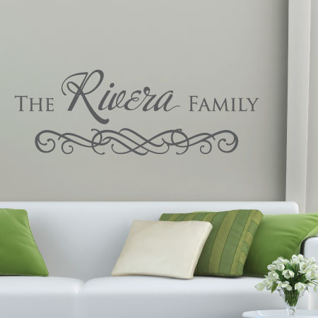 Custom Family Name wall quotes vinyl lettering wall decal personal personalized home decor entryway photowall & Calligraphy Family Name Wall Quotes™ Decal | WallQuotes.com