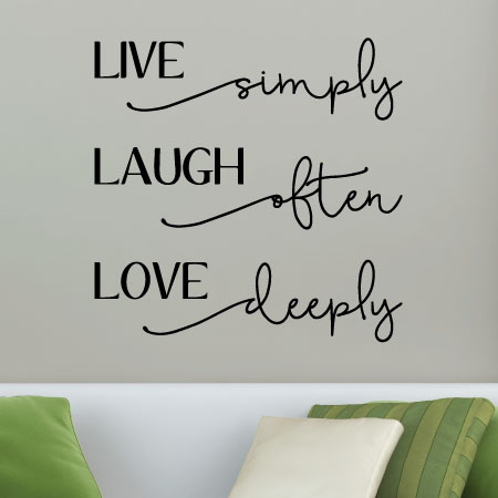 Live Simply Laugh Often Love Deeply Wall Quotes Vinyl Lettering Wall Decal Home  Decor Live Laugh