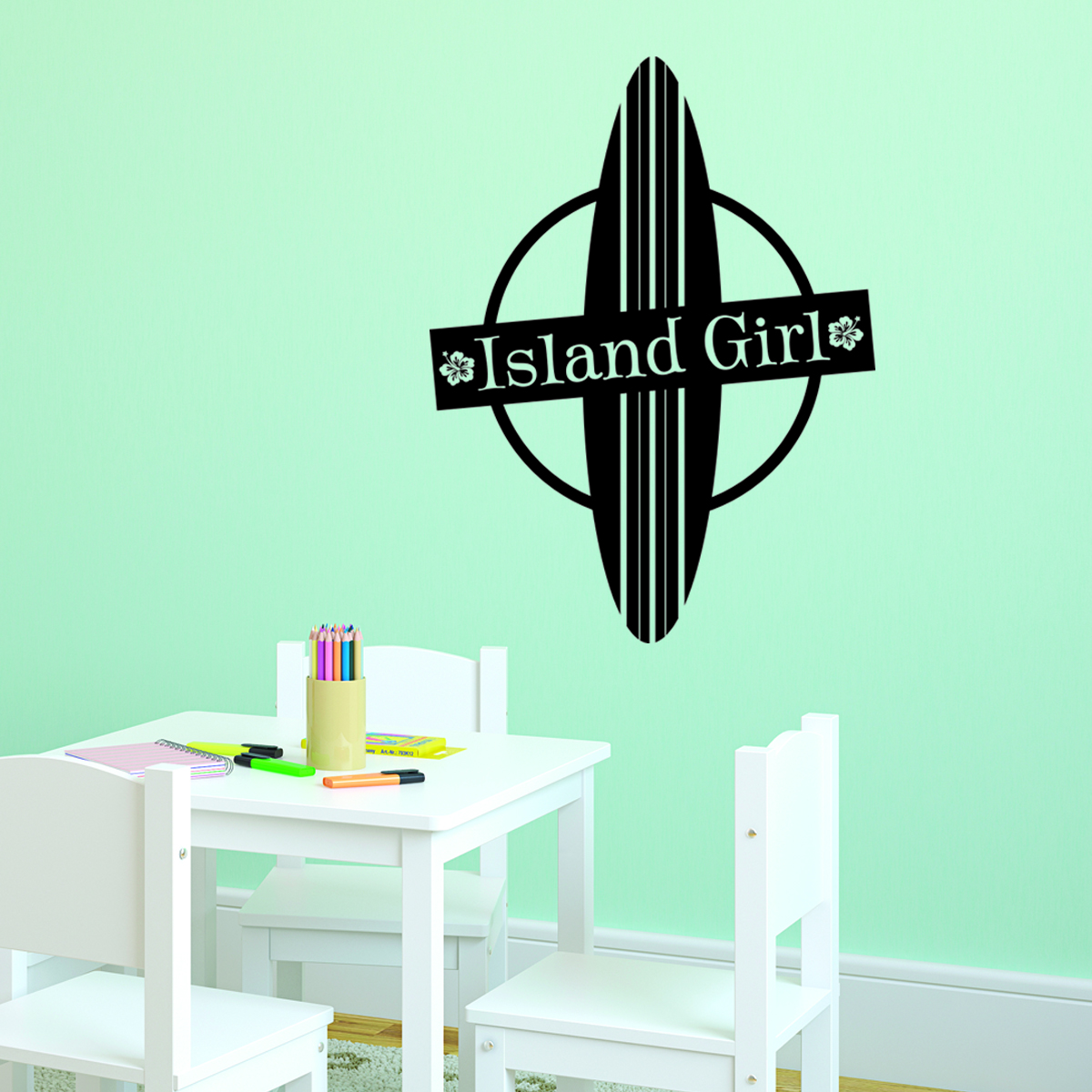 Island Girl & Board Wall Quotes™ Decal | WallQuotes.com