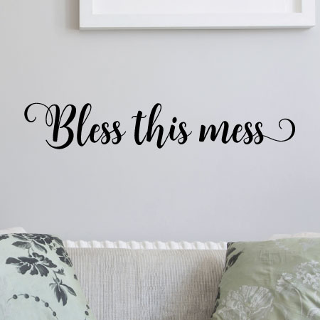 Bless This Mess Messy Home House Wall Quotes Vinyl Lettering Wall Decals  Blessing Faith