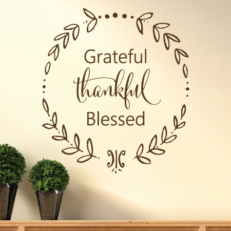 Quotes Calligraphy Entrancing Grateful Thankful Blessed Calligraphy Wall Quotes™ Decal