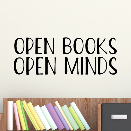 Open Books Open Minds Wall Quotes™ Decal   WallQuotes com