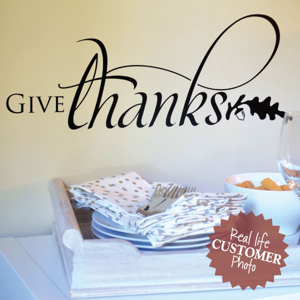 Give Thanks Script Amp Leaf Wall Quotes Decal Wallquotes Com