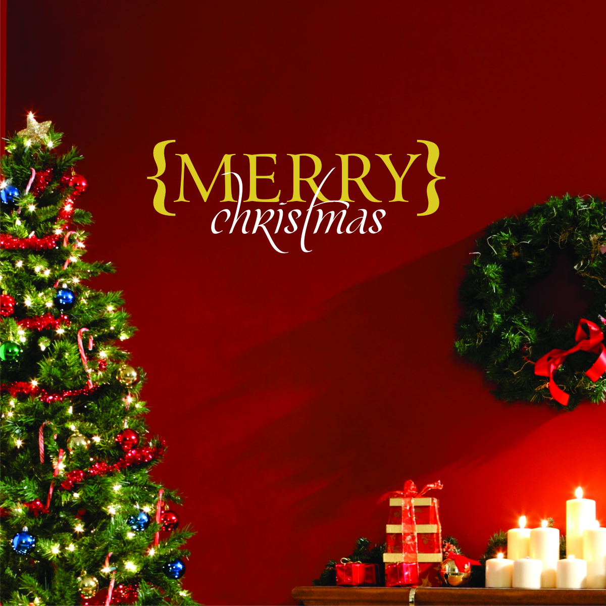 Christmas Tree Brackets: Merry Christmas Brackets Wall Quotes™ Decal