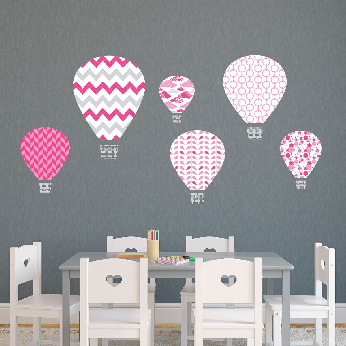 Pink Hot Air Balloons Textstyles™ Canvas Wall Decal