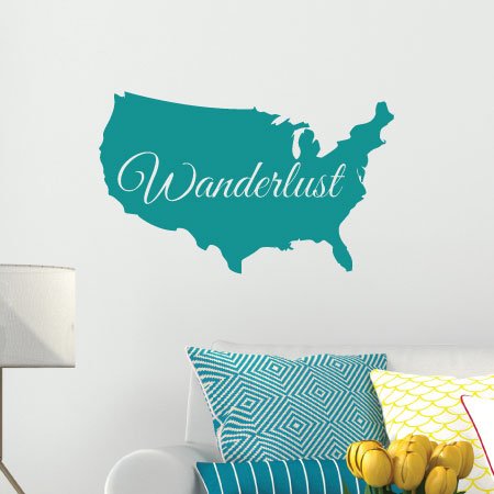 Wanderlust Map Wall Quotes Decal WallQuotescom - Us road map wall decals