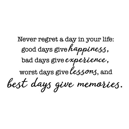 Never Regret A Day Wall Quotes Decal Wallquotescom