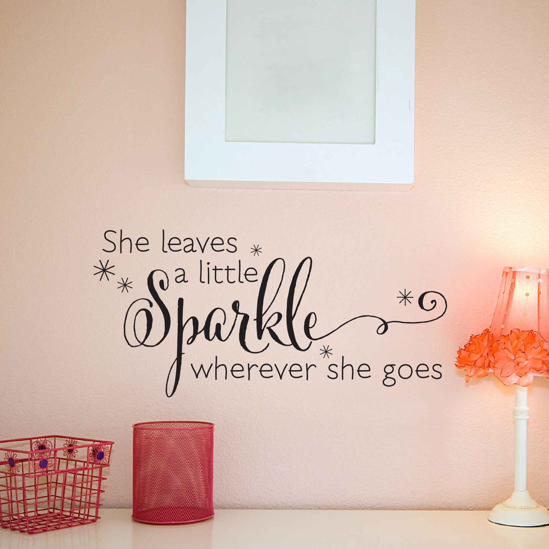 She leaves a sparkle wall quotes decal wallquotes she leaves a sparkle wherever she goes amipublicfo Images