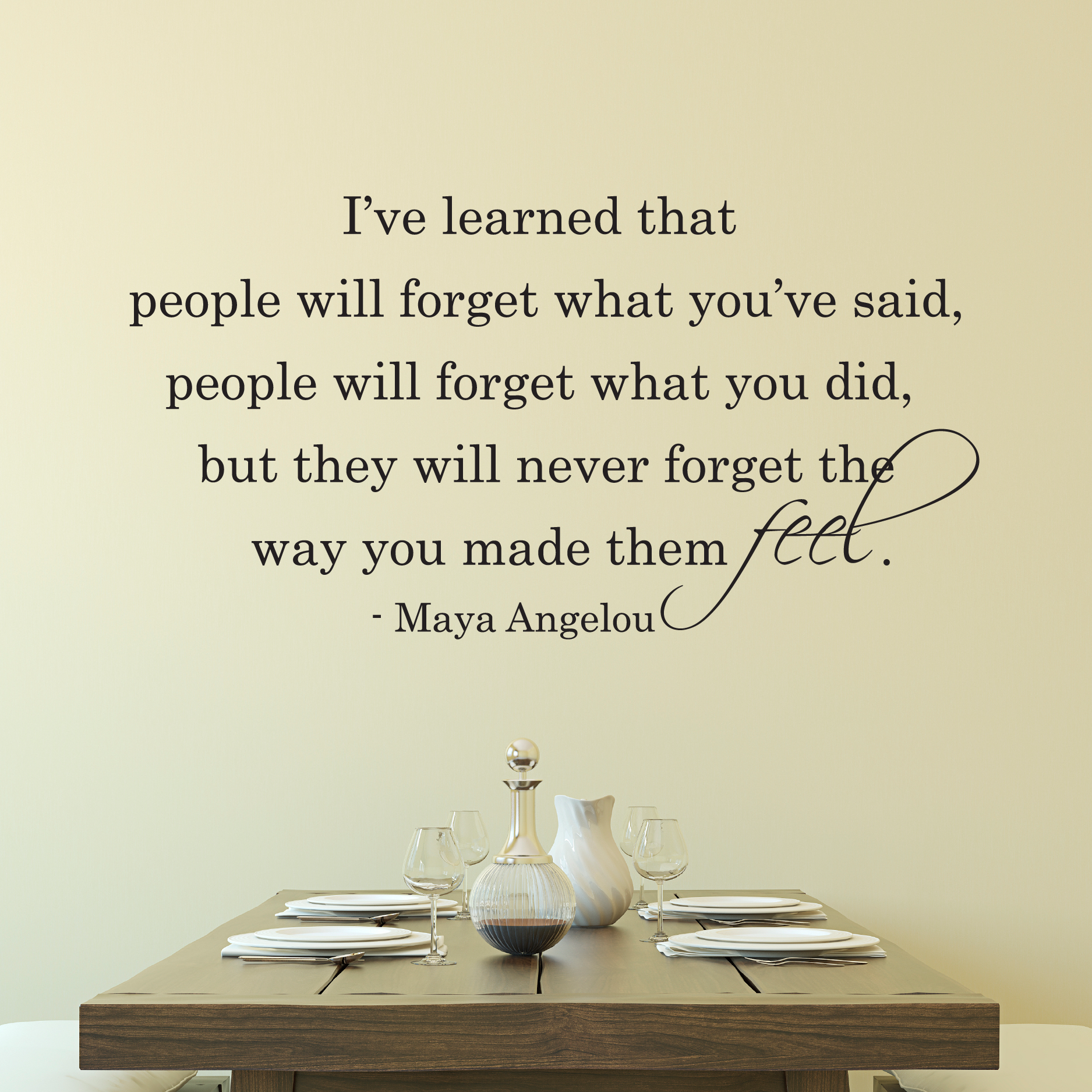 Maya Angelou Quote People Will For Get: People Will Never Forget The Way You Made Them Feel Wall