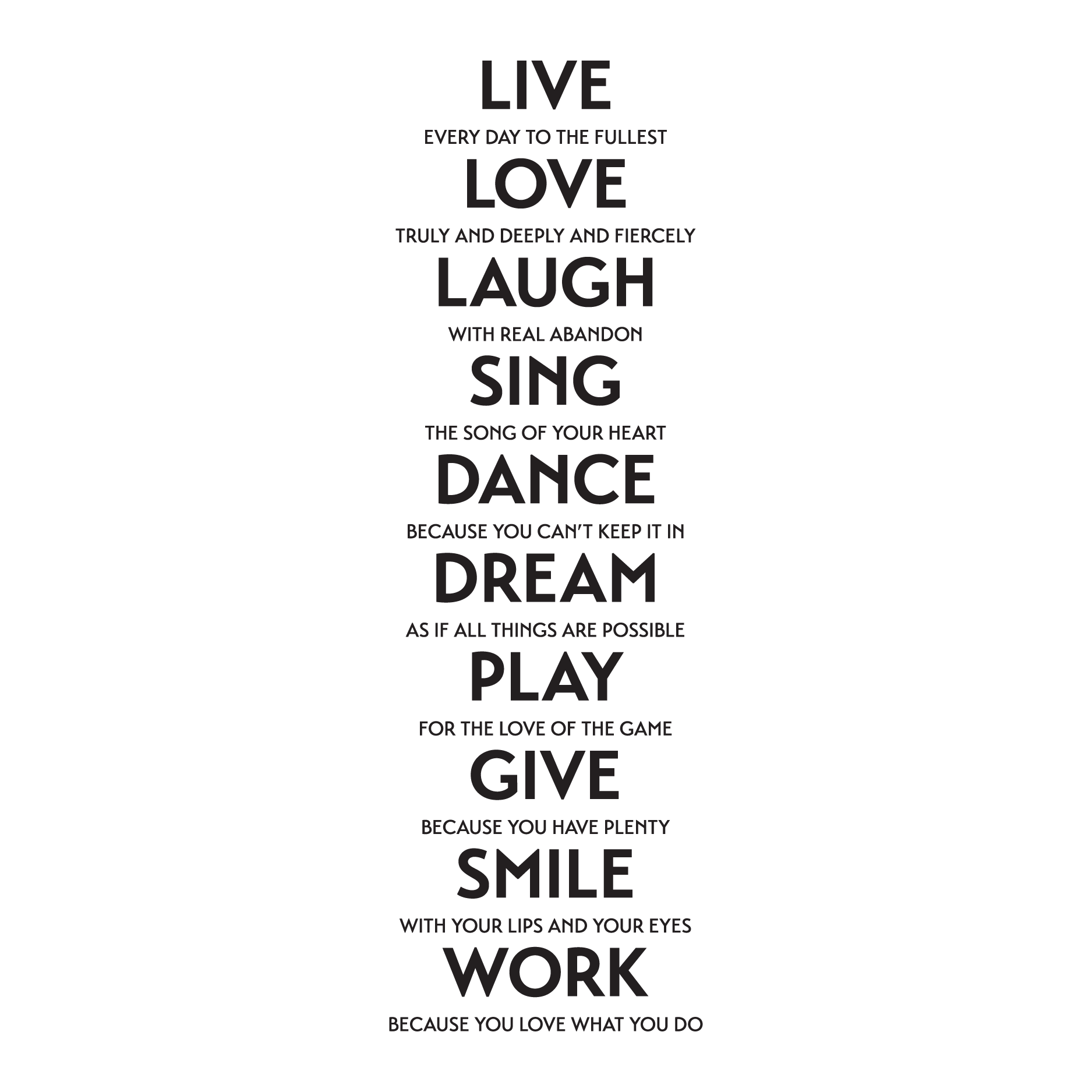 Live Quotes: Live Love Laugh Sing Etc. Wall Quotes™ Decal