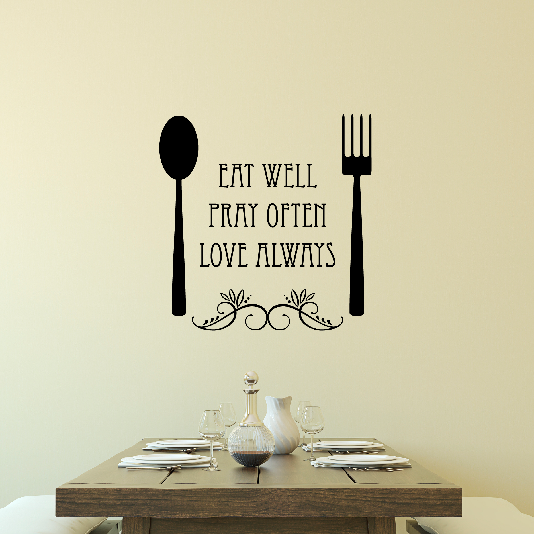 Eat Well Spoon And Fork Wall Quotes Decal Wallquotes Com