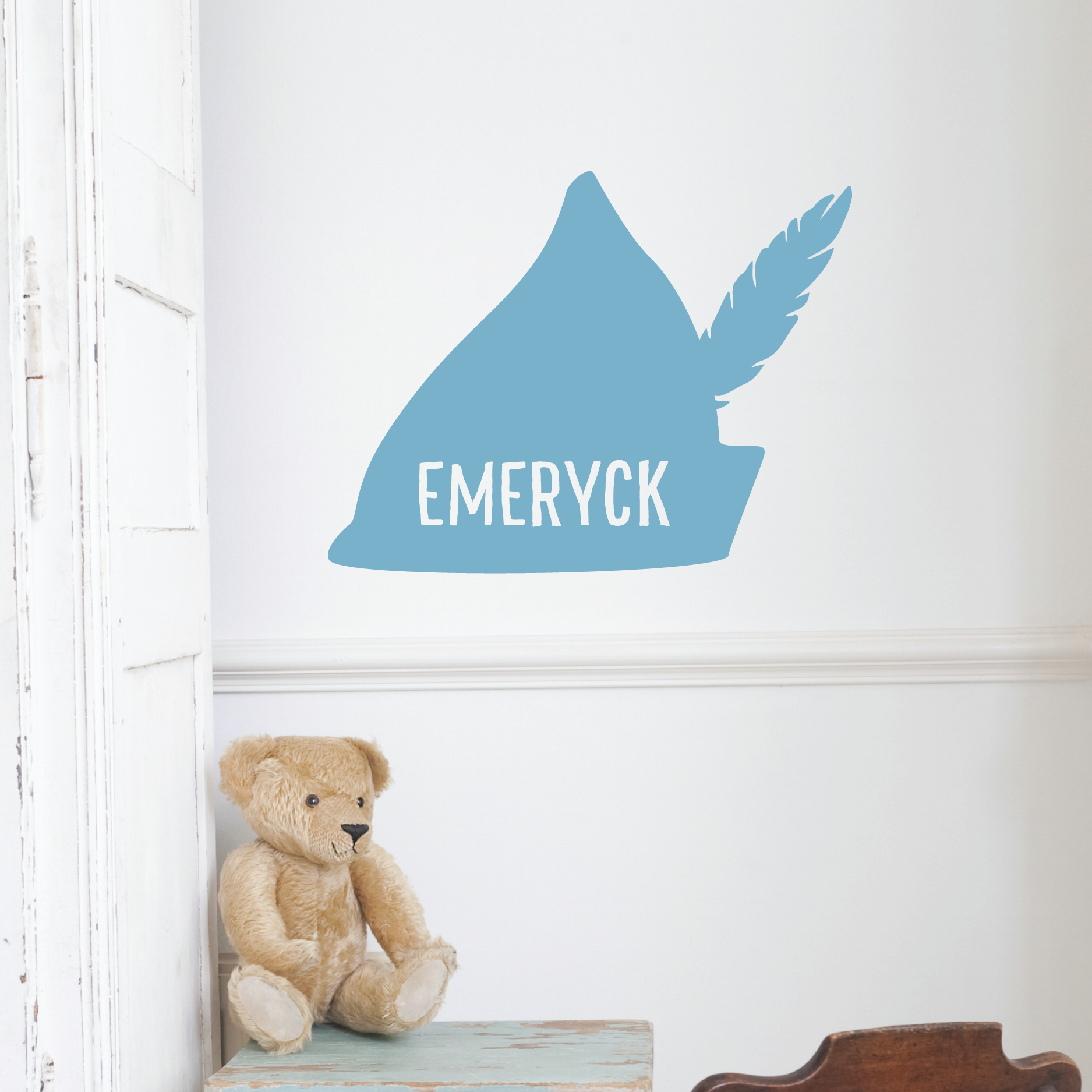 Custom name feather hat wall quotes decal wallquotes peter pan hat with feather custom name amipublicfo Gallery