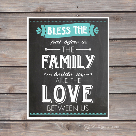 Bless The Food Before Us Family Beside And Love Between Chalkboard Print
