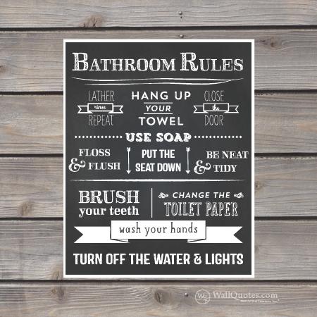 Bathroom Rules Chalk Wall Quotes™ Giclée Art Print | WallQuotes.com