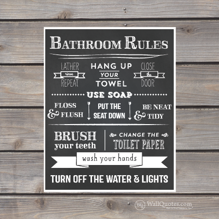 bathroom rules chalk wall quotes™ giclée art print  wallquotes, Home design