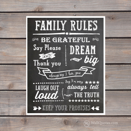 Family Rules Chalk Wall Quotes™ Giclée Art Print | WallQuotes.com