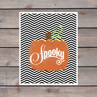Spooky print. Pumpkin with chevron background