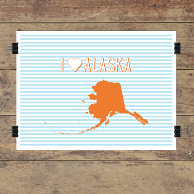 I heart Alaska striped wall quotes art print