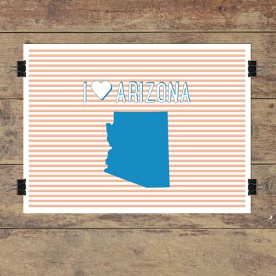 I heart Arizona striped wall quotes art print