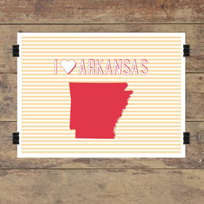 I heart Arkansas striped wall quotes art print