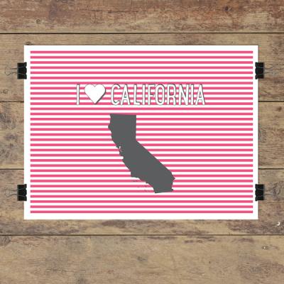 I heart California striped wall quotes art print