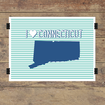 I heart Connecticut striped wall quotes art print
