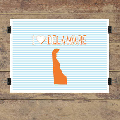 I heart Delaware striped wall quotes art print