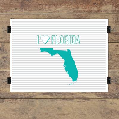 I heart Florida striped wall quotes art print