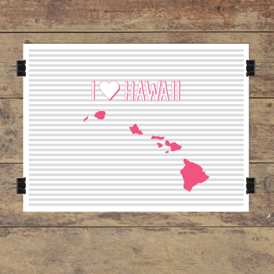 I heart Hawaii striped wall quotes art print
