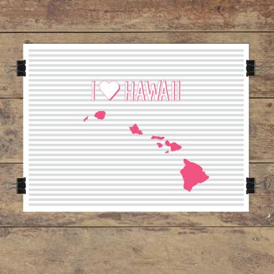 I heart Hawaii striped wall quotes art print
