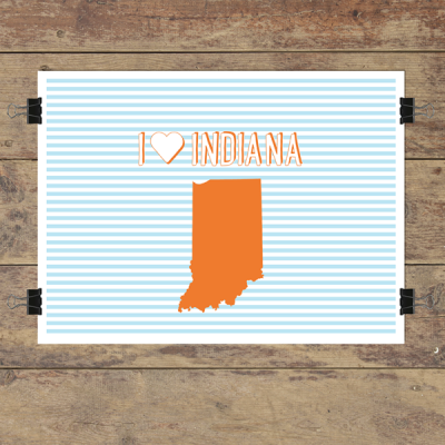 I heart Indiana striped wall quotes art print