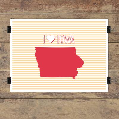 I heart Iowa striped wall quotes art print