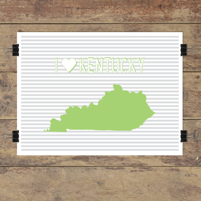 I heart Kentucky striped wall quotes art print