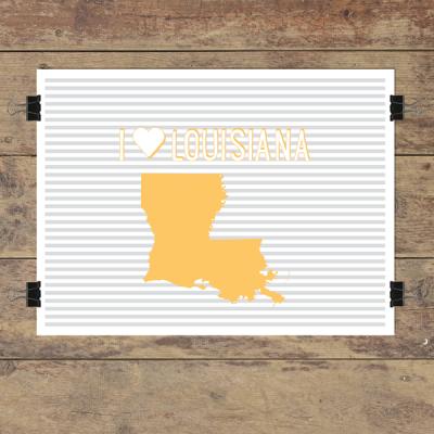 I heart Louisiana striped wall quotes art print