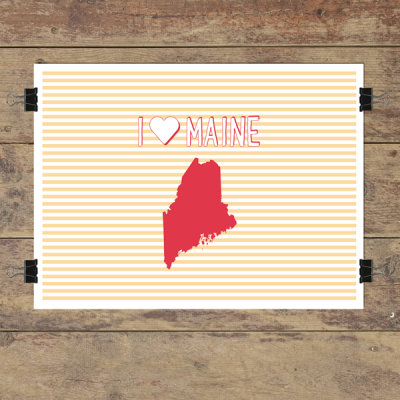 I heart Maine striped wall quotes art print
