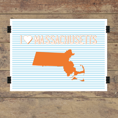 I heart Massachusetts striped wall quotes art print