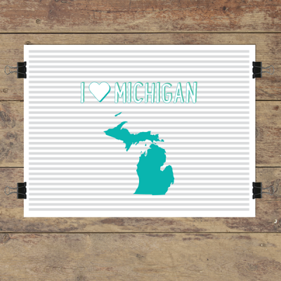 I heart Michigan striped wall quotes art print