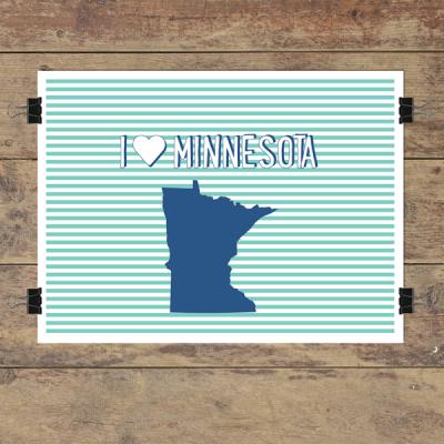 I heart Minnesota striped wall quotes art print