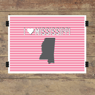 I heart Mississippi striped wall quotes art print
