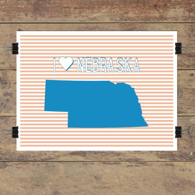 I heart Nebraska striped wall quotes art print