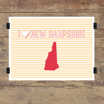 I heart New Hampshire striped wall quotes art print