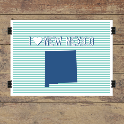 I heart New Mexico striped wall quotes art print