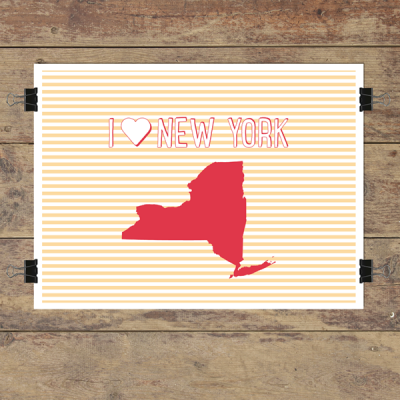 I heart New York striped wall quotes art print